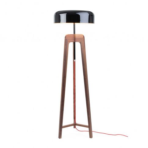 Porada Pileo Alta Floor Lamp Walnut/ Shiny Black Shade