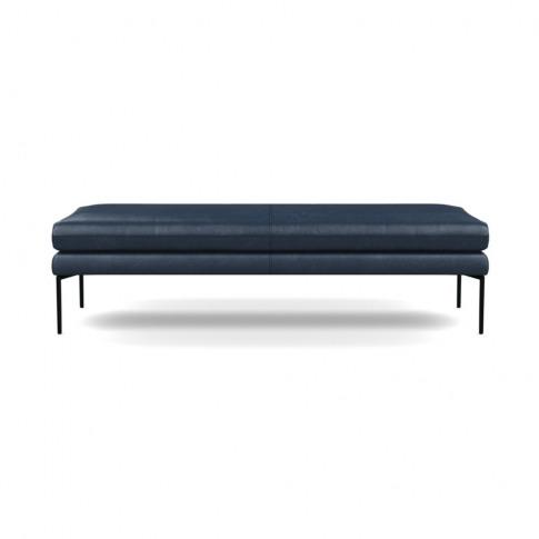 Heal's Matera Bench 160cm Leather Stonewash Navy Blu...