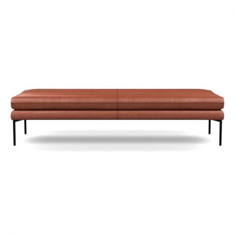 Heal's Matera Bench 180cm Leather Stonewash Light Brown 274 Black Feet