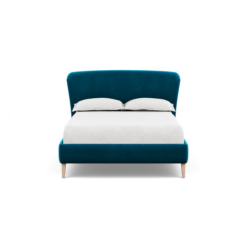 Heal's Darcey Bed Double Velvet Teal Natural Feet