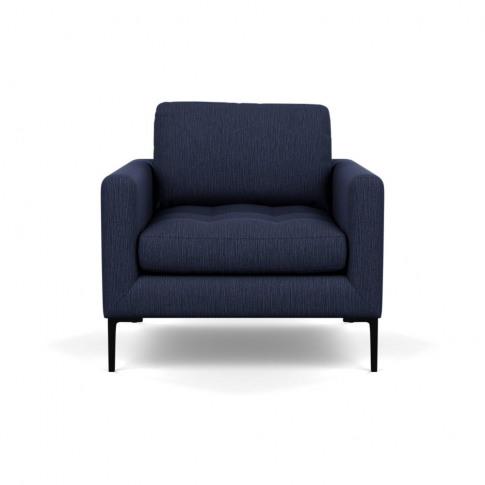 Heal's Eton Armchair Smart Linen Mix Navy Black Feet