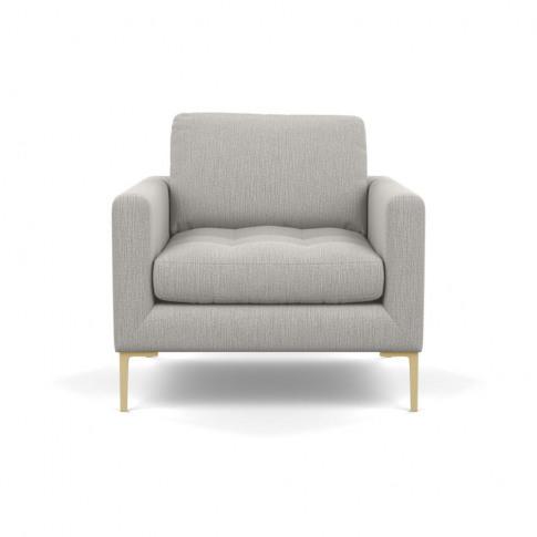 Heal's Eton Armchair Smart Linen Mix Silver Brass Feet