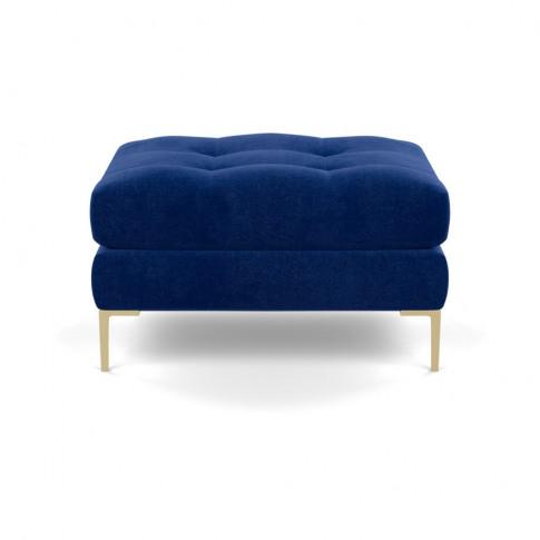 Heal's Eton Footstool Smart Luxe Velvet Azure Brass ...