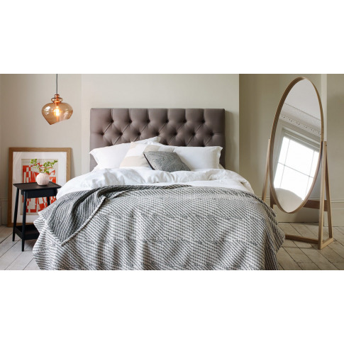 Heal's Balmoral Headboard Super King Linen Dark Grey