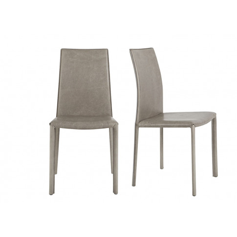 Heal's Byron Pair Of Dining Chairs Grey Leather