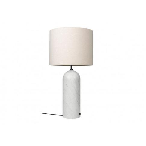 Gubi Fol19 Gravity Floor Lamp Xl Low White Marble Base Canvas Shade