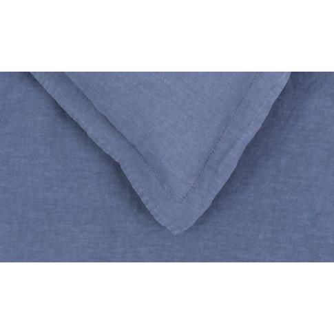 Heal's Washed Linen Blue King Duvet Cover