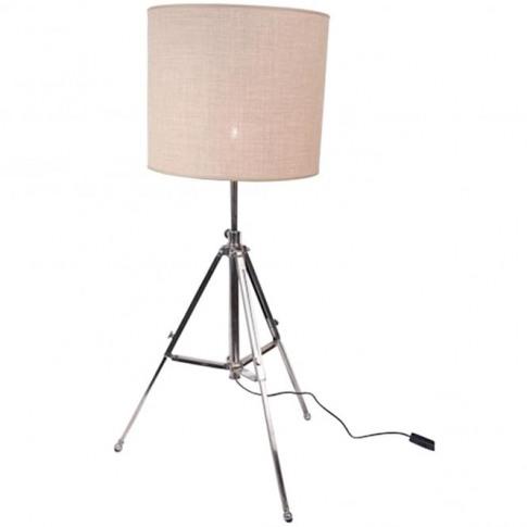 Aluminium Tripod With Linen Shade Floorstanding Lamp