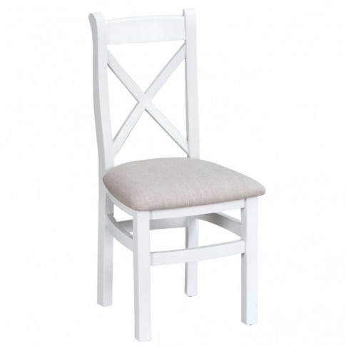 Bisbee White Set Of 2 Cross Back Dining Chairs W/ Fa...