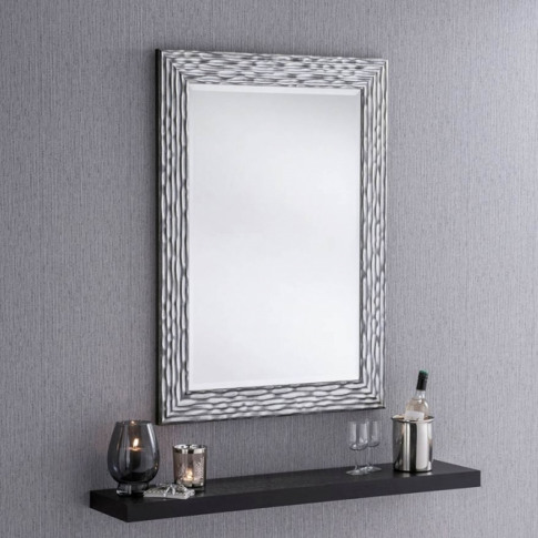 Black And Silver Textured Wall Mirror