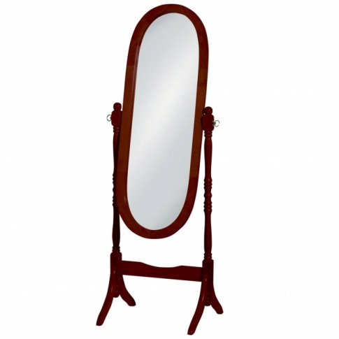 Brown Oval Cheval Mirror