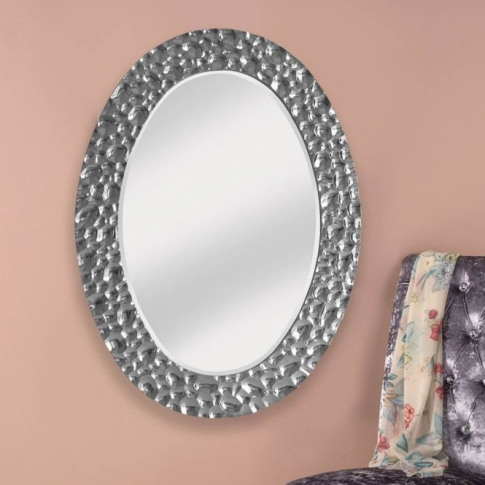 Bubble Effect Chrome Silver Oval Wall Mirror