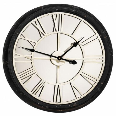 Distressed Black Wall Clock
