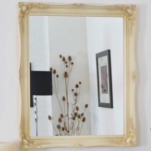 Ivory Antique French Style Wall Mirror