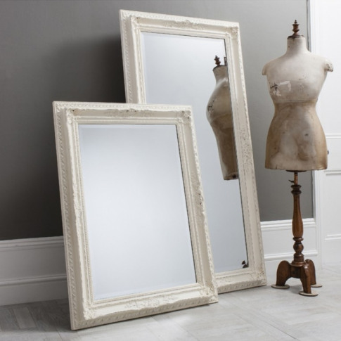 Large Antique French Style White Buckingham Wall Mirror