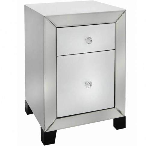 Mantua White Mirrored 2 Drawer Bedside Table