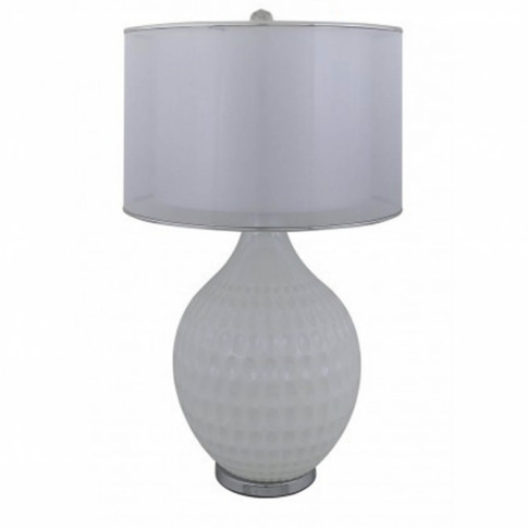 Pure White Pearl Glass Dimple Table Lamp