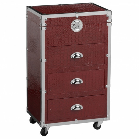 Red Crocodile Leather Cabinet