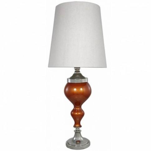 Terracotta Pearl Glass Chrome Curve Table Lamp