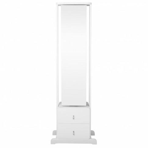 White Floor Standing Revolving Mirror