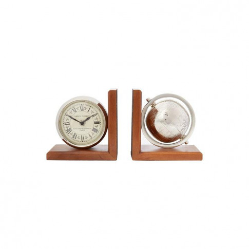 Linea Clock And Globe Bookends