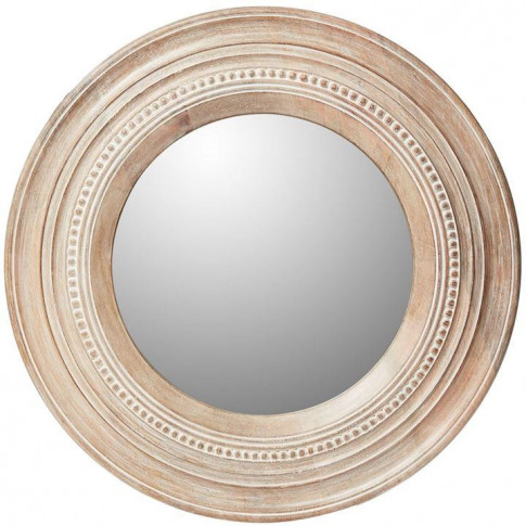 House Of Fraser Analise Round Wood Mirror - Washed W...