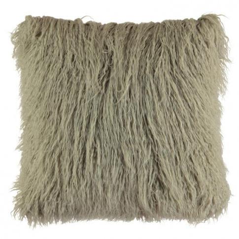 Linens And Lace Faux Fur Mongolian Cushion - Grey