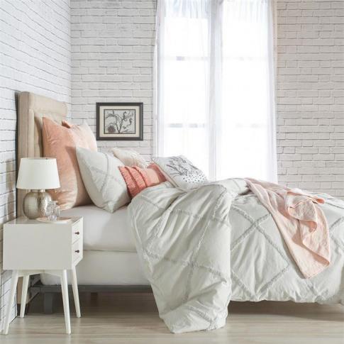 Peri Home Chenille Lattice Duvet Cover - Grey