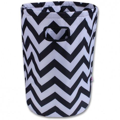 Minene Black & White Chevron Laundry Basket
