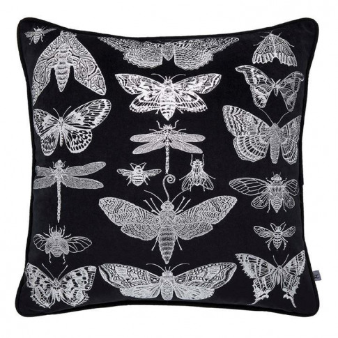Graham And Brown Black/Silver Gothic Bugs Cushion