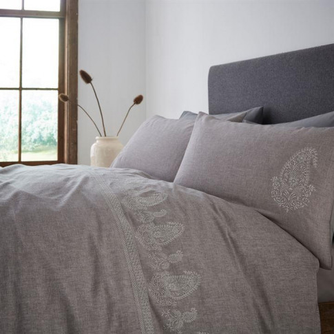 Gray And Willow Frieda Embroidery Pillowcase Pair - ...