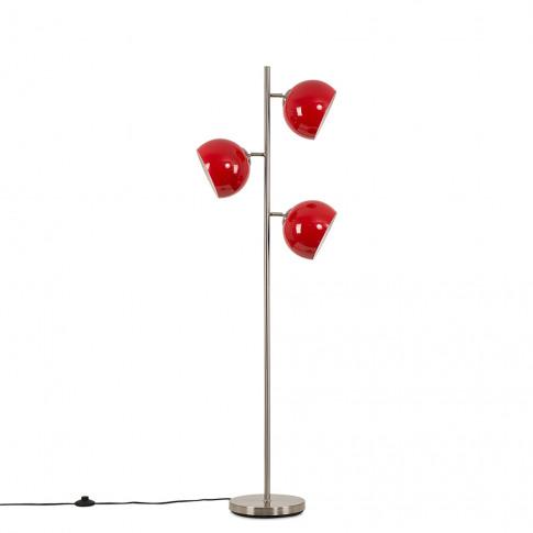 Elliot Satin Nickel 3 Way Floor Lamp With Red Shades