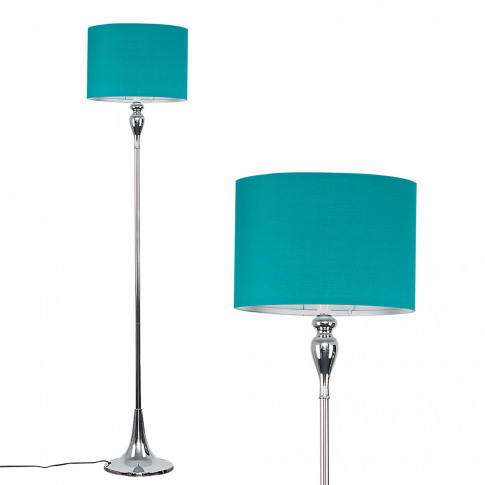 Faulkner Chrome Spindle Floor Lamp With Teal Drum Shade