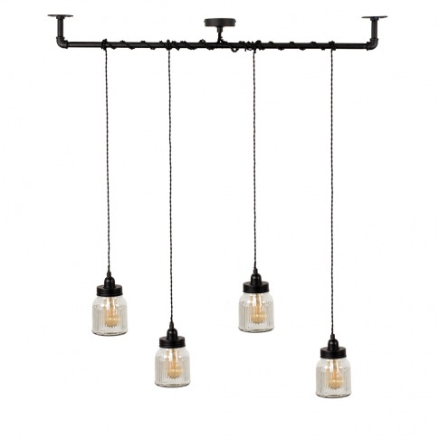 Luiggi Steampunk 4 Way Ceiling Light In Black With R...