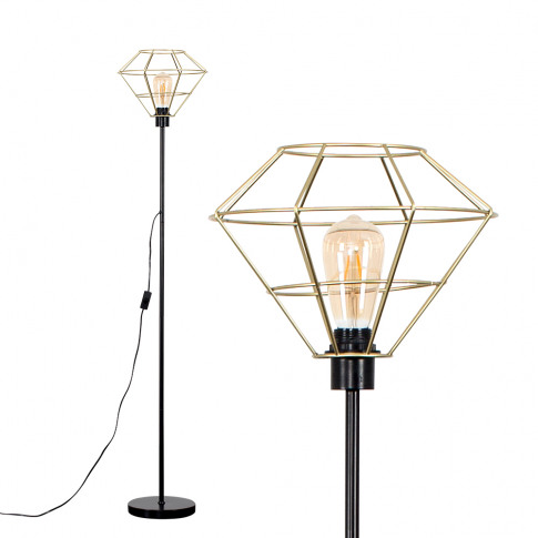 Charlie Black Stemmed Floor Lamp With Gold Trillian ...