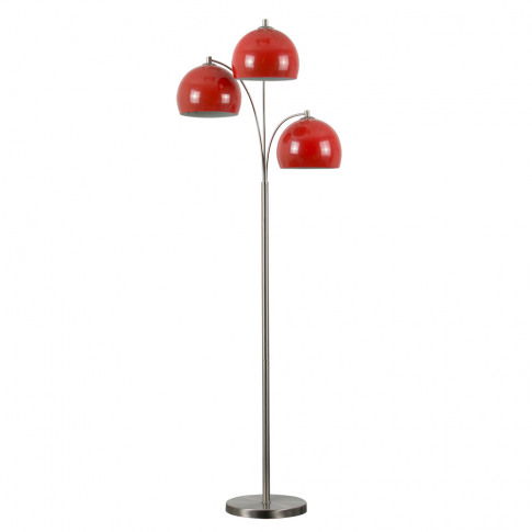 Dantzig Satin Nickel 3 Arm Floor Lamp With Red Dome ...