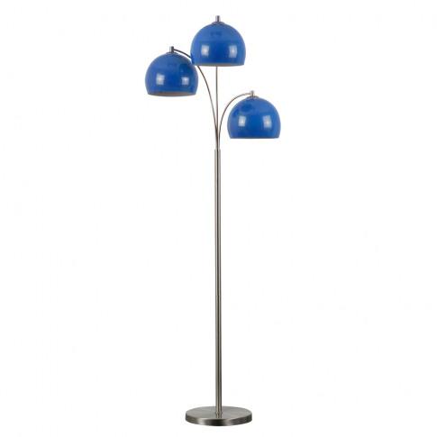 Dantzig Satin Nickel 3 Arm Floor Lamp With Blue Dome...