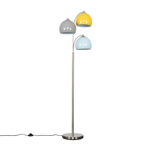 Dantzig Satin Nickel 3 Arm Floor Lamp With Multi-Col...