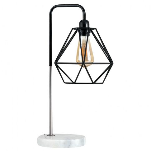 Talisman Brushed Chrome Table Lamp With Black Diablo...