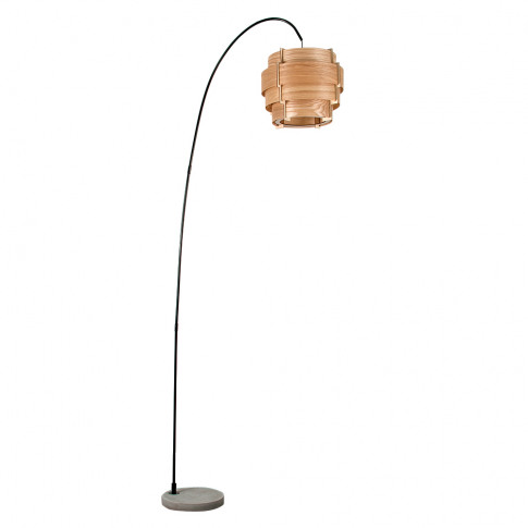 Du Bose Black Floor Lamp With A Layered Wooden Shade