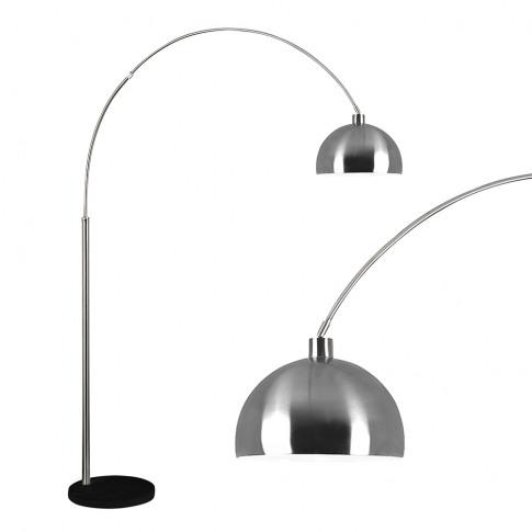 Curva Satin Nickel Floor Lamp With Black Marble Base...