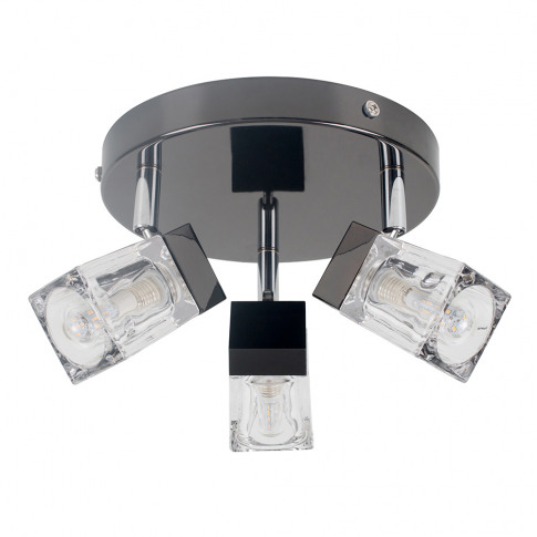 3-Way Ip44 Ice Cube Bathroom Spotlight In Black Chrome