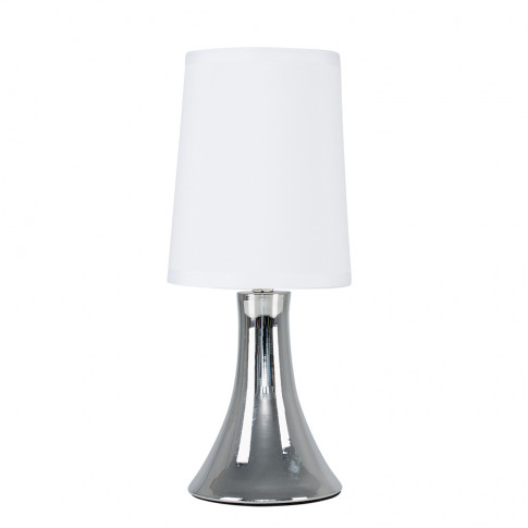 Small Trumpet Touch Table Lamp In Chrome With White ...