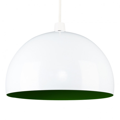 Curva Pendant Shade In White With Green Interior