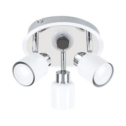Benton 3-Way Ceiling Spotlight In White And Chrome