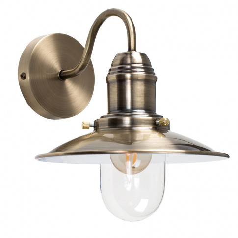 Industrial Style Fisherman'S Wall Light In Antique Brass