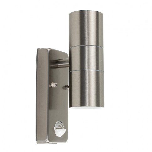 Ip44 Pir Up/Down Wall Light In Brushed Chrome