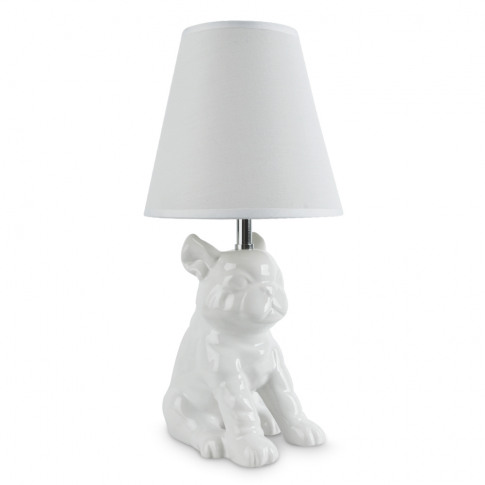 French Bull Dog White Ceramic Table Lamp With White ...