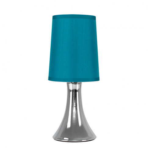Small Trumpet Touch Table Lamp In Chrome With Teal S...
