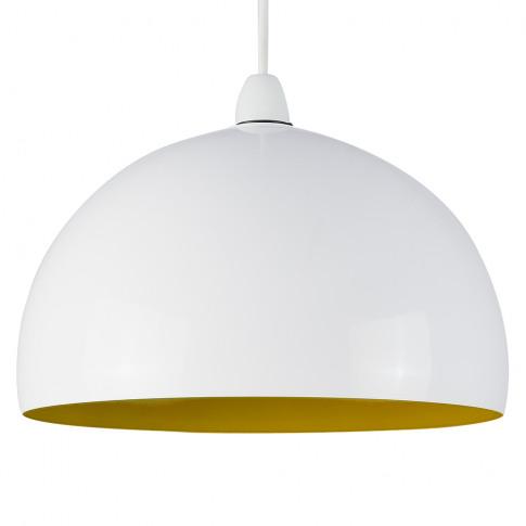 Curva Pendant Shade In White With Yellow Interior